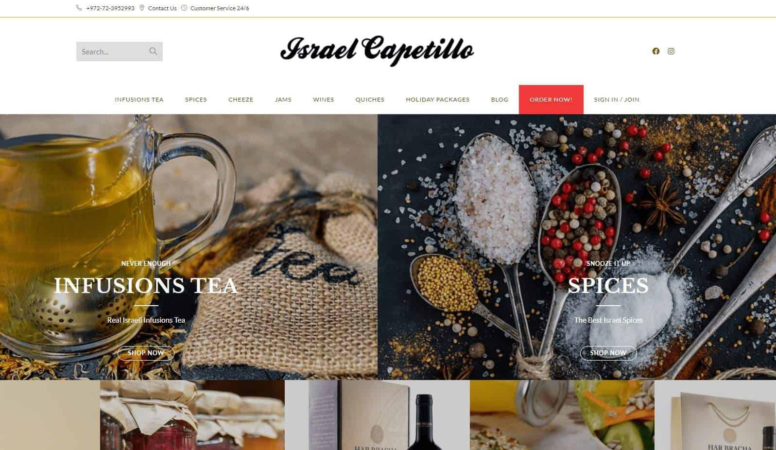 בניית אתר חנות וקידום בשביל חנות חבילות שי לחגים Israel Capetillo